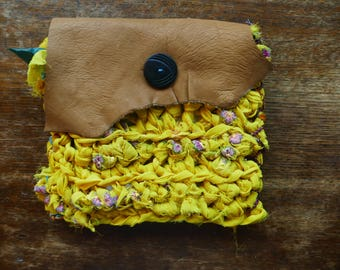 Yellow Fairy Bubbles Shaman Pouch - Crochet Clutch Lined with Llama Cactus Fabric! So Cute! Vintage Button Upcycled Leather Closure