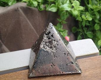 Pyrite Pyramid, Fool's Gold Pyramid, Pyrite Stone Pyramid, Raw Pyramid