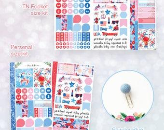 Peach Pom Sticker Kit and Pom Clip Bundle- Freedom- You Pick size