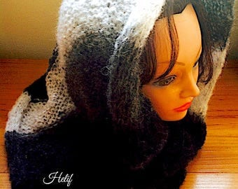 Collar, hood, shawl, Mohair, black, grey, white, scarf hood, hand-made Creation, wool from France, Hey wool In france, Ana Karenina,