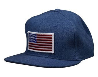 U.S.A. Snapback - Light Blue Denim United States Hat by LET'S BE IRIE
