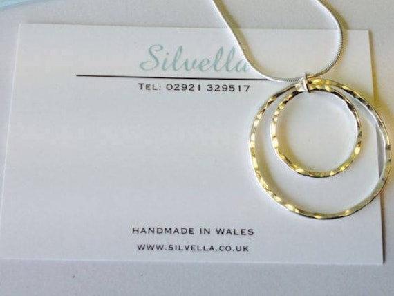 Sterling Silver Double Circle Necklace ~ Handmade in Wales ~ Gift for Her ~ Hammered Necklace