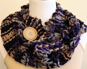 The Jea'nee Knitted Cowl Neck Scarf  with Vintage Button