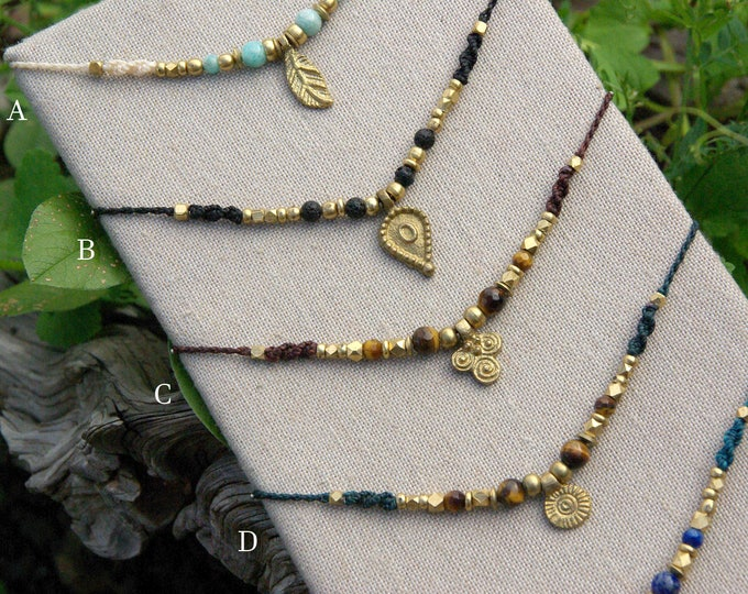 Macrame necklace with brass beads and natural stones, tribal jewelry, mystic jewelry, nickel free, custom order, free shipping