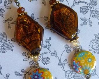 """Earrings dangle lampwork Murano """"Flower"""" Crystal - jewelry-Bohemian unique diamond"""