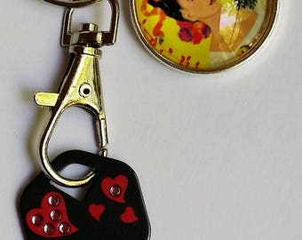 Frida Kahlo Key Chain, Key to my Heart, Purse Charm, Zipper Pull, SALE