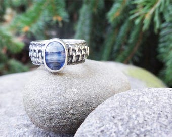 Zipper Ring, Sterling Silver Kyanite Ring, Zip it, Zipper Statement, Silver Zipper, Kyanite Ring, Statememt Ring, Gift for Sewer,Unique Ring