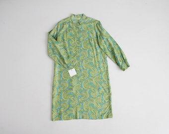 blue and green paisley dress | collared shirtdress | 70s paisley dress