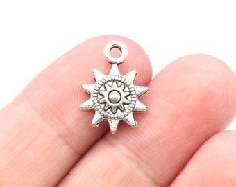 12 Pcs Sun Charms Sunshine Charms Pendants Antique Silver Tone 2 Sided 13x17mm - YD0730