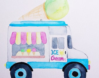 Ice cream car icecream van truck watercolor