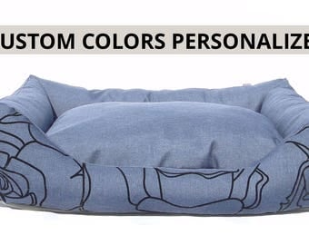 Dog bed Niko custom colors/large dog bed/name embroidery