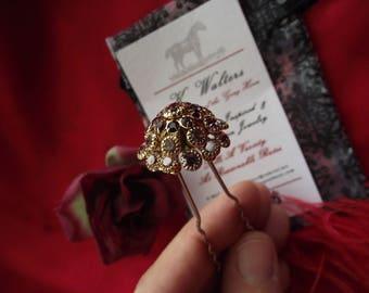 HA-0095 - Vintage Crystal Hair Pins - Georgian Hair Pin, Renaissnace Hair Pin, Regency Hair Pin, Wedding Hairpin