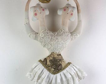 Circus Dolls, Circus Freak, Twin Dolls, Vintage Circus, Whimsical Wall Art, Textile Sculpture, OOAK Doll Art 'The Singing Starlet Sisters'