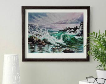 Gift|for|wife Birthday gifts|for|her Ocean painting watercolor painting art original Mediterranean Sea Mountain Green painting Sea painting