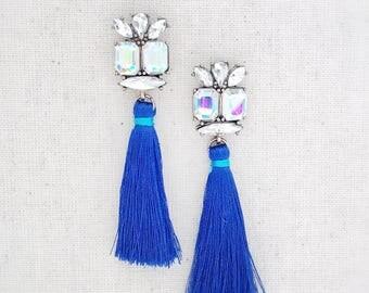 Blue tassel earrings, blue statement earrings, tassel earrings, statement earrings, blue earrings, long blue earrings, long earrings, gift