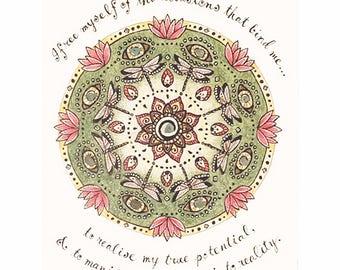 mandala art print with crystals - Dragonfly, inspirational art, mandala print, spiritual art, dragonfly art, mandalas, boho art, affirmation