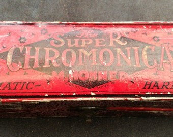 "Vintage Harmonica - ""The Super Chromonica"" Chromatic Harmonica G By M. Hohner - Made In England. 1920's The Super Chromonica."