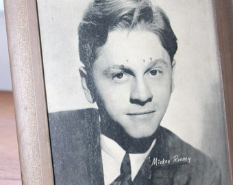 Mickey Rooney Picture in Faux Leather Frame -- 11.5 x 9.5  -- Studio Photo Print, Glass, Frame, Picture --  MGM, Andy Hardy, MOvies