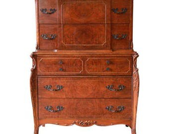 Vintage French Flame Mahogany Highboy Dresser