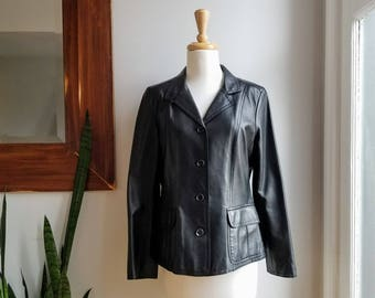 """90s Soft Lambskin Burberry Jacket/Burberry Fitted Leather Coat/Super Soft Black Leather Jacket/Soft Biker Jacket/25""""Long/38""""Chest/17""""Sleeve"""