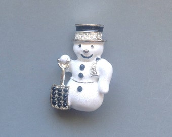 Vintage Christmas Snowman Brooch/ Snowman with Shovel/Holiday Pin/Iridescent Enamel and Rhinestone Pin -  1980's