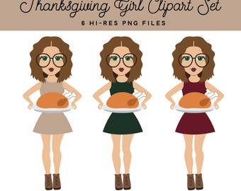 Thanksgiving Girl Clipart, Turkey Thanksgiving Brunette Brown Hair Clipart Graphics, Cooking Holiday Fashion Girl Planner Sticker Clipart