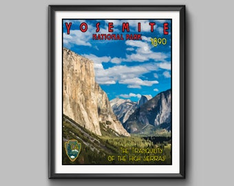 YOSEMITE National Park Vintage WPA Poster Style Giclee Fine Art Print - All 59 National Parks Available