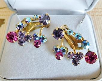 1960s vintage Austrian aurora crystal clip on gold-plated earrings, bridesmaid gift, wedding, graduation gift
