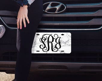 Marble Monogram License Plate, Front License Plate, Car Tags, Marble Decor, Cute Car Accessories, Monogram Car Tag, Personalized gift