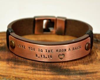 FAST SHIPPING, Copper Engraved, Mens Bracelet, Leather Bracelet, Mens Personalized Leather Gift, Custom Mens Gift Bracelet, Copper Bracelet