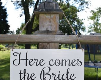 Here Comes The Bride Sign, Wedding Sign, Flower Girl Sign, Ring Bearer Sign