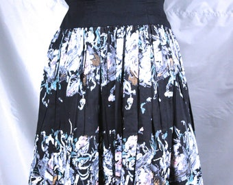 Black Dress with Painted Skirt and Metal Zipper Small Size