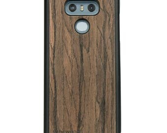LG G6 - Dark Walnut -  Wood Case - Real Wooden Case - Black Bumper