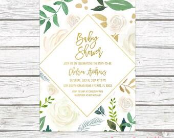Baby Shower Brunch Invitation, Gender Neutral Baby Shower Invitation, Rustic Baby Shower Invitation, Garden Green Baby Shower Invite
