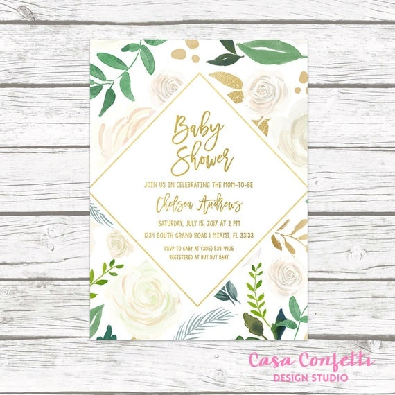 Baby Shower Brunch Invitation Gender Neutral Baby Shower Invitation