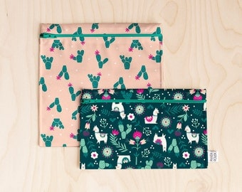 2 Reusable bags - Duo lunch - Cactus and llamas