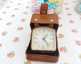 Junghas Vintage German Europa travel alarm clock, leather case travel alarm clock, Midcentury / Mechanical clock /