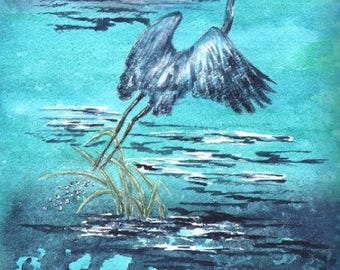 Indigo Heron Prints 11x14 or 12x16 watercolor #5a