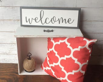Welcome Hand Painted Farmhouse Style Wood Sign