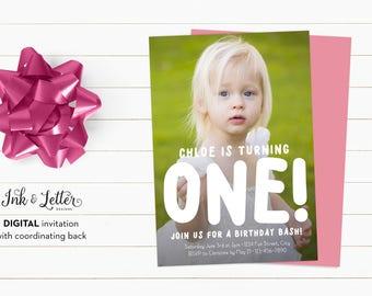 1st Birthday Girl Invitation - Photo Birthday Invitation - Girl Birthday Invitation - Custom Birthday Invites - Digital Invitations - Photo