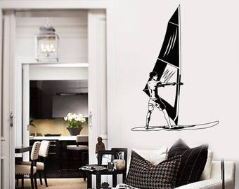Windsurfing Vinyl Wall Decal Windsurfer Water Sport Beach Style Stickers Mural (#2593di)