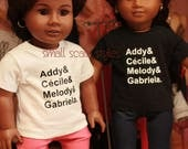"""Addy and Friends Black History Month graphic tee  American Made to fit 18"""" Girl Dolls"""