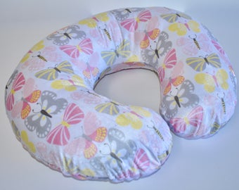 Pastel Butterflies Cover - Butterflies, nursing pillow cover,  nursery,  girl , pink, gray, yellow