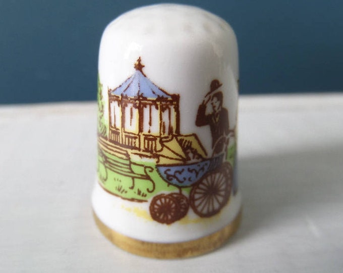 """Porcelain Thimble, Mothers Day 1979, Victorian Scene, English Bone China, Made in England, Excellent Condition, 1"""" x 0.75"""", Circa 1980"""