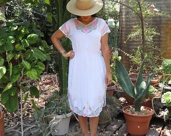 Vintage Balinese Crotchet Dress / White Bali Dress