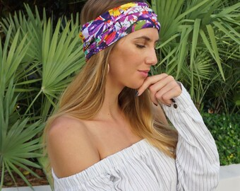 Yoga Headband / Floral Print Headband / Workout Running Headband / Boho Wide Headband / Womens Headbands / Boho Headband / Hippie Headband