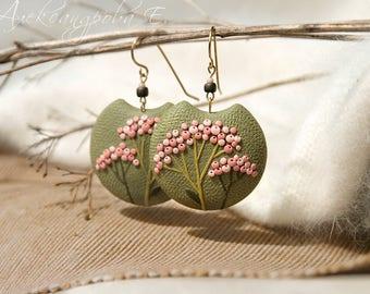 Pink Berry Earrings - Green earrings - Round dangle earrings - Large dangle earrings  - Berries Polymer clay earrings - Branch earrings