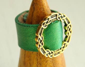 Emerald Green Celtic Knot Pewter Leather Ring with / 3rd anniversary / 9th anniversary / 10th anniversary gift