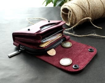 Leather wallet Small wallet credit card wallet womens wallet mens wallet card wallet leather coin purse handmade card wallet Ligth Puple