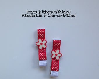 White Flowers | Red Border | Hair Clips for Girls | Toddler Barrette | Kids Hair Accessories | Red Grosgrain Ribbon | No Slip Grip